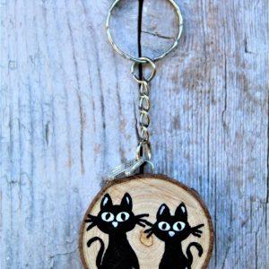 portachiavi-legno-dipinto-a-mano-coppia-gatti-seduti